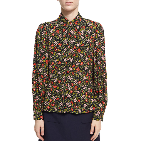 Pointed Collar Floral Silk Shirt