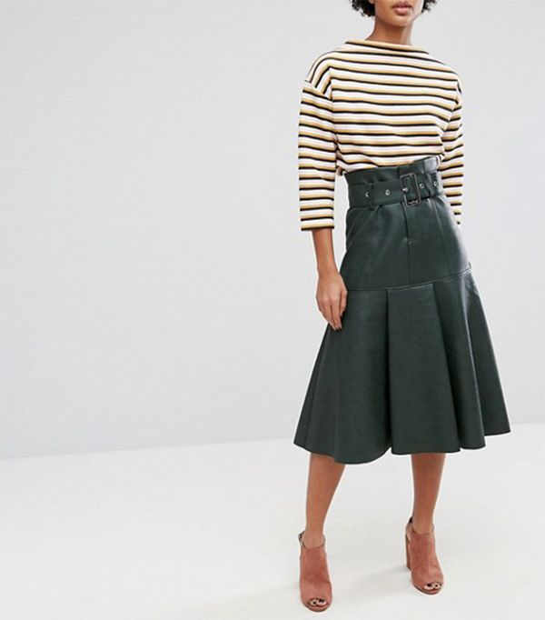 Leather Look Midi Skirt with Belt