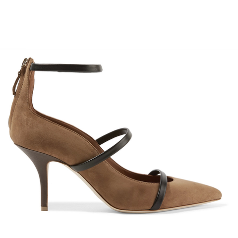 Robyn Leather-Trimmed Suede Pumps