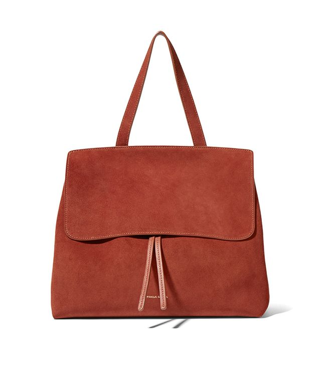 Lady Leather-trimmed Suede Tote