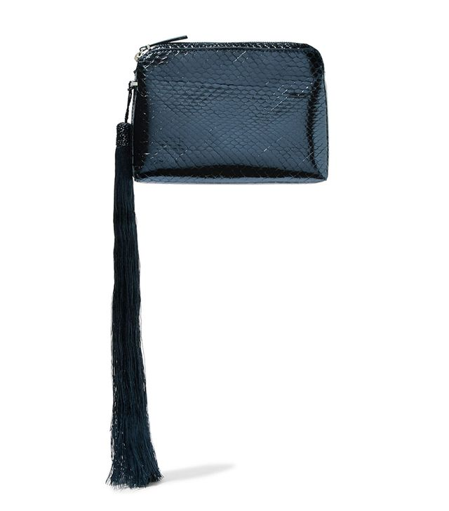 Wristlet Mini Tasseled Metallic Watersnake Clutch