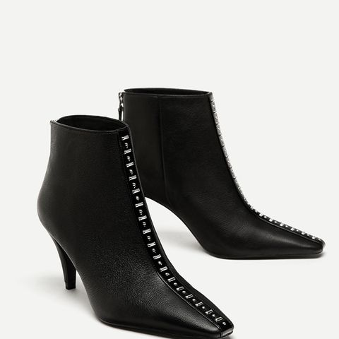 High Heel Leather Ankle Boots With Studs