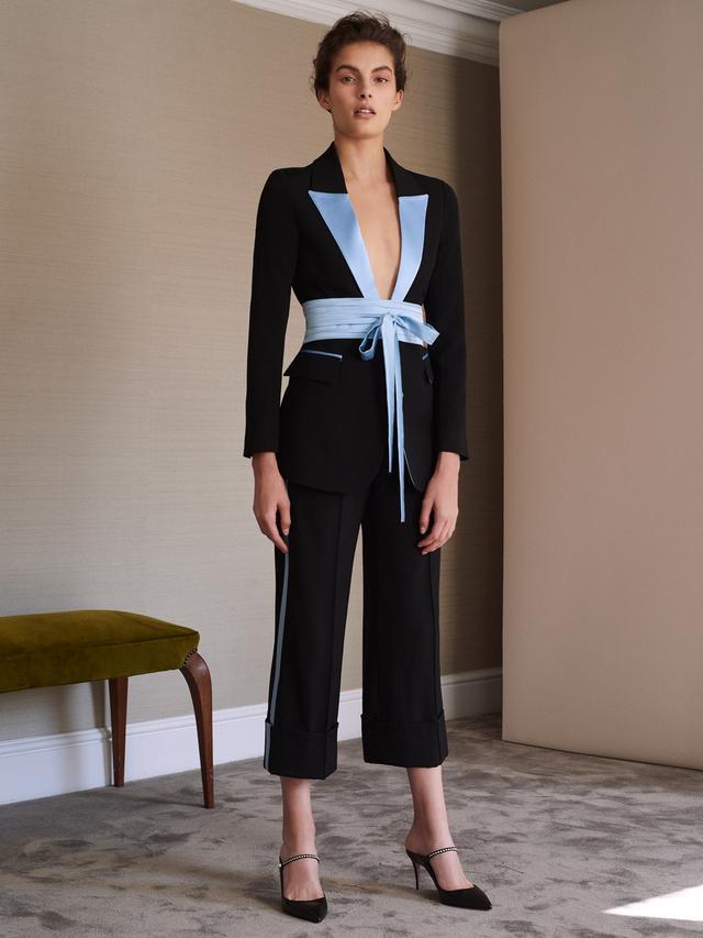 Tokyo single-breasted contrast-lapel wool blazer