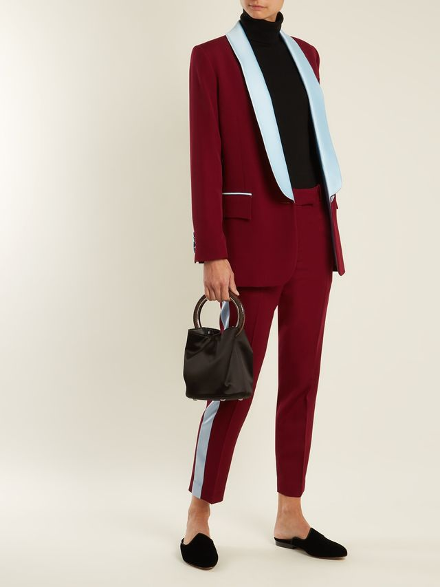 New York contrast-lapel wool blazer