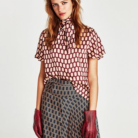 Printed High Collar Blouse