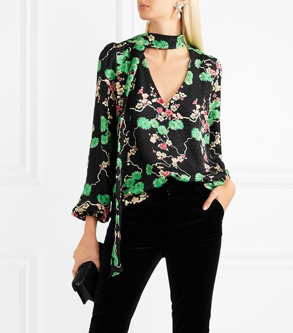 Moss Pussy-bow Printed Silk-jacquard Blouse