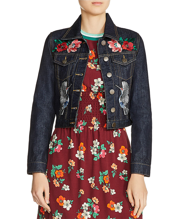 Barry Embroidered Cropped Denim Jacket