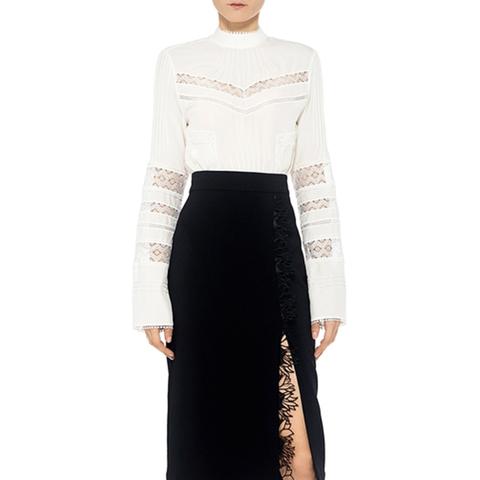 Holland Floral Lace Trim Pencil Skirt