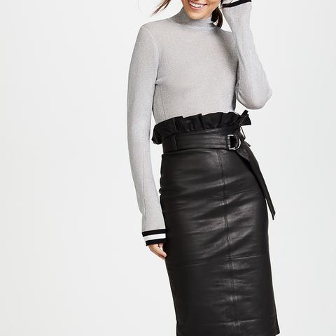 Claudia Leather Midi Skirt
