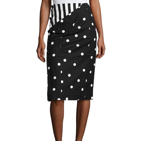 Striped Dot Combo Pencil Skirt