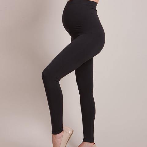 Black Bamboo Active Over-Bump Maternity Leggings