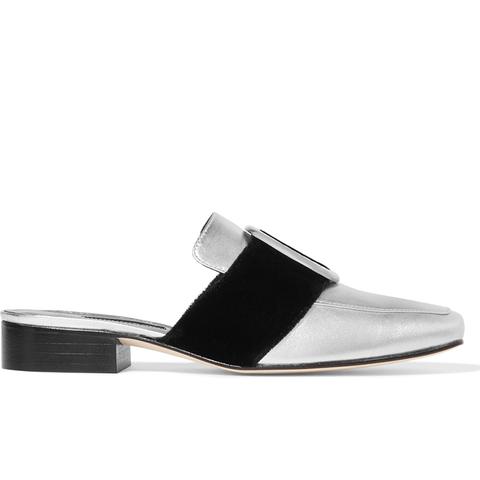 Petrol Metallic Leather and Velvet Slippers
