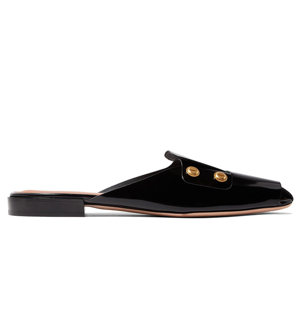 Studded Patent-leather Slippers