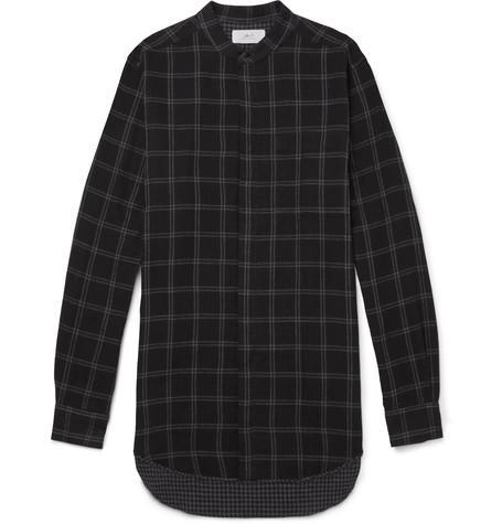 MR P. Grandad-Collar Checked Cotton Shirt
