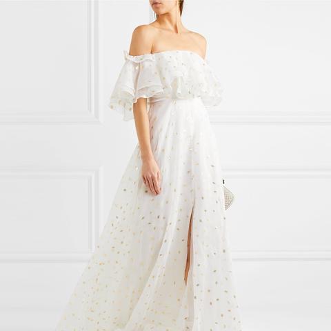 Off-the-Shoulder Metallic Fil Coupé Organza Gown