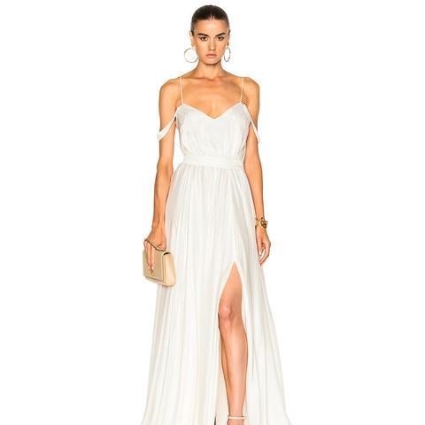 Morgan V-Neck Empire Gown