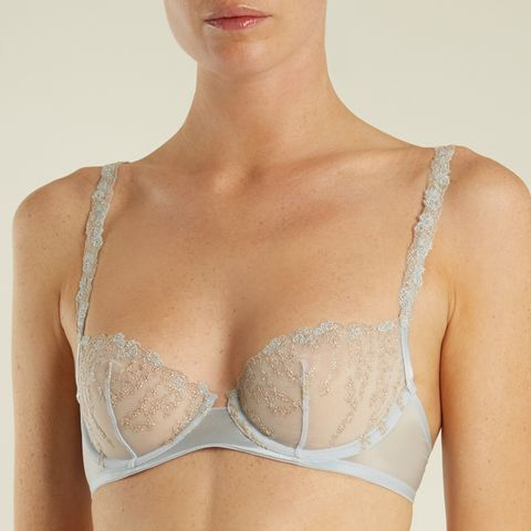 Daphne Embroidered-Tulle Balconette Bra