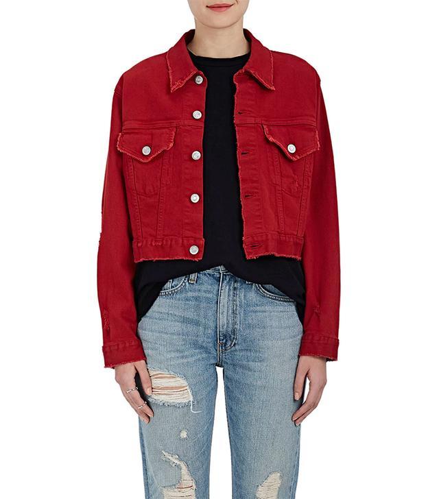 Women's Distressed Denim Crop Trucker Jacket