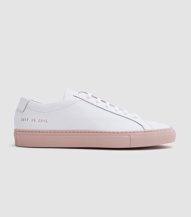 Achilles Low with Colored Sole in White/Blush