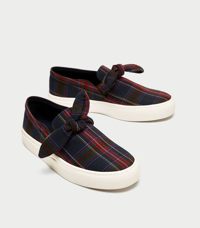 Zara Checked Fabric Sneakers With Bow