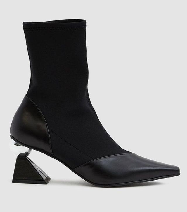 Silver Heel Sock Boot