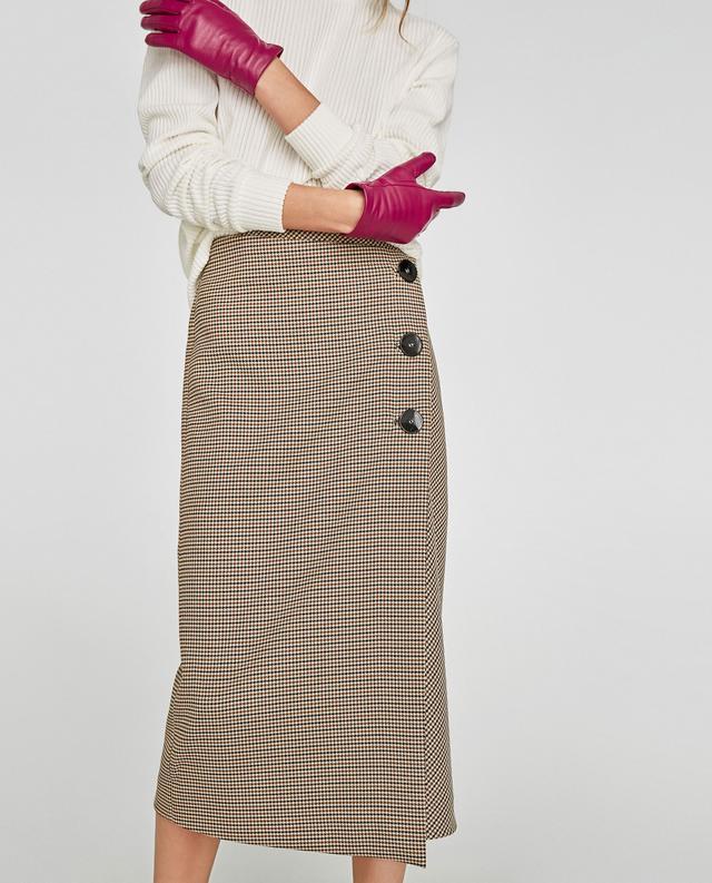 Zara Check Wrap Skirt
