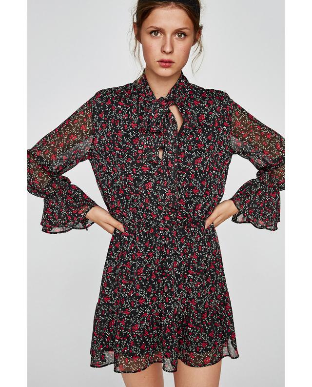 Zara Printed Dress With Bow