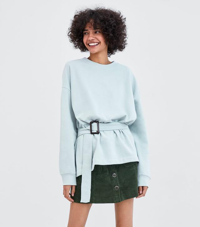 Zara Belted Oversized Sweatshirt