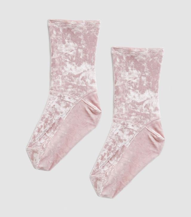 Darner Blush Crushed Velvet Sock
