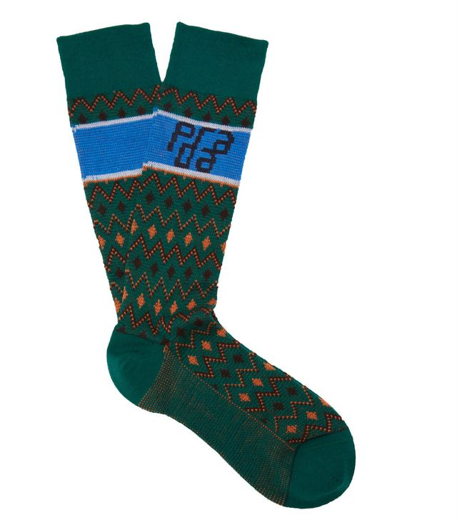 - Logo Cotton Blend Socks - Womens - Green