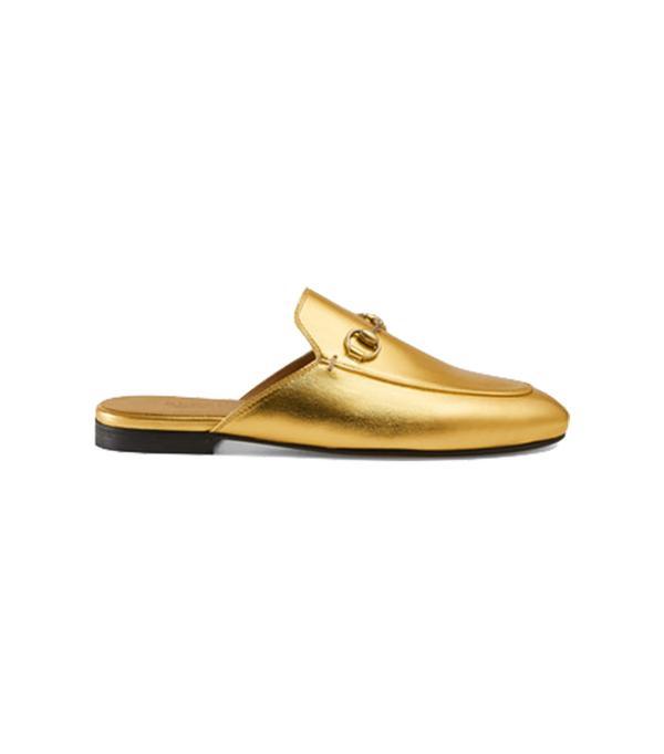 Princetown metallic leather slipper