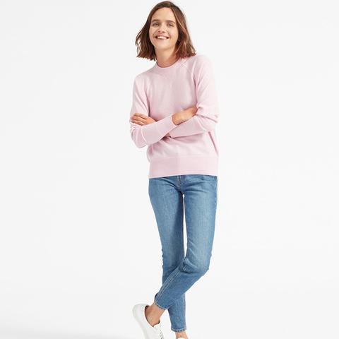 Cashmere Sweatshirt in Soft Pink