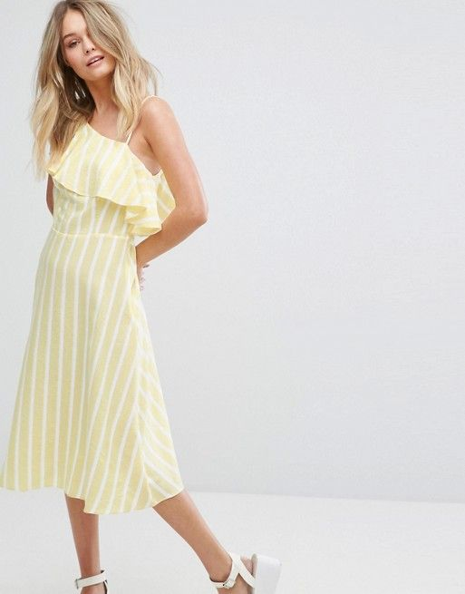 ASOS New Look One Shoulder Frill Sleeve Midi Dress