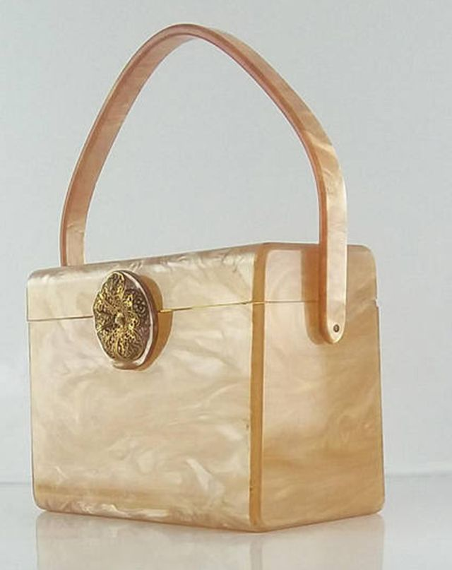 Wilardy Champagne Pearlized Marble Lucite Purse