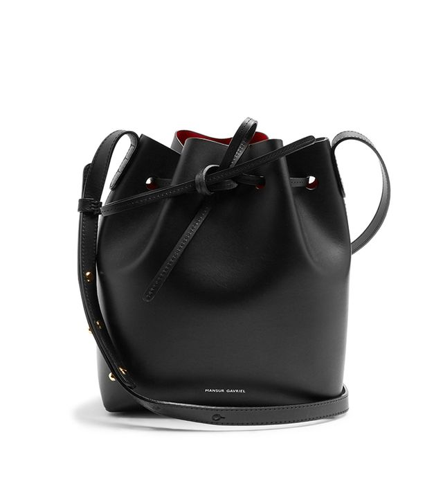 Red-lined Mini leather bucket bag