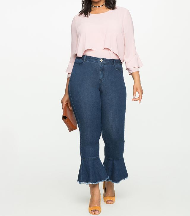 Eloquii Ruffle Hem Jeans