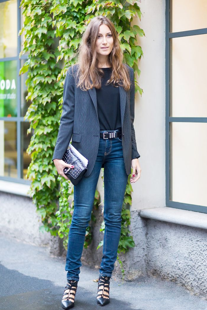 jeans outfits cute skinny wear blazer belt outfit