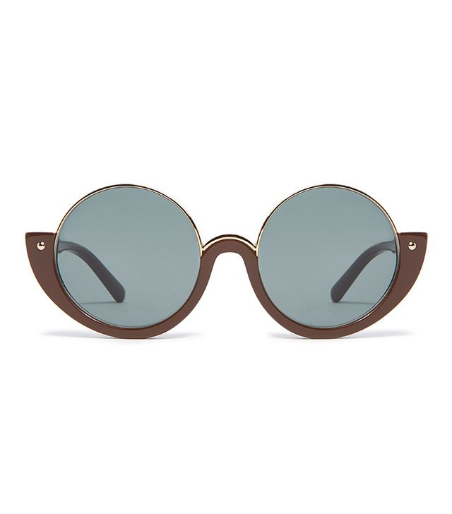 Crop Rectangular Frame Sunglasses in Brown