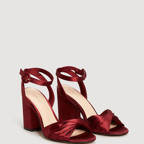 Satined Ankle-Cuff Sandals
