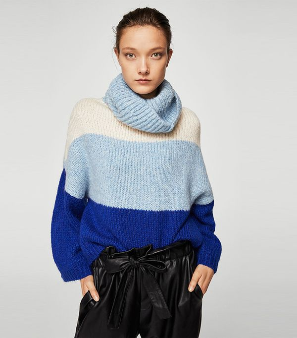 Stand-collar striped sweater