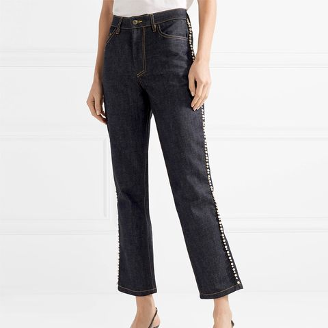 Ontario Cropped Embellished High-Rise Straight-Leg Jeans