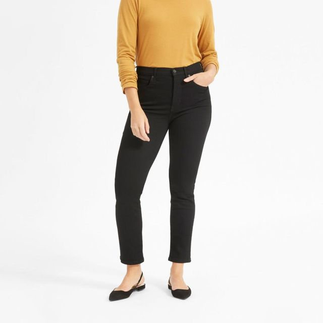 Women's Authentic Stretch High-Rise Cigarette Jean by Everlane in Black, Size 33
