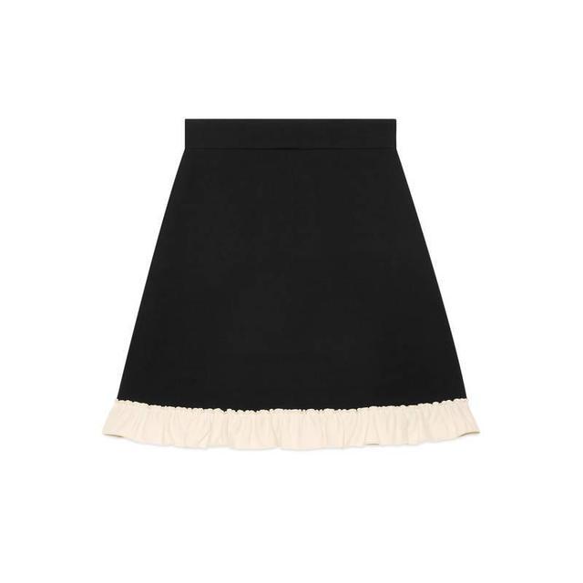 Silk wool A-line skirt