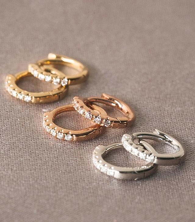 Aprés Jewelry The Classique Pavè Huggies in 9mm