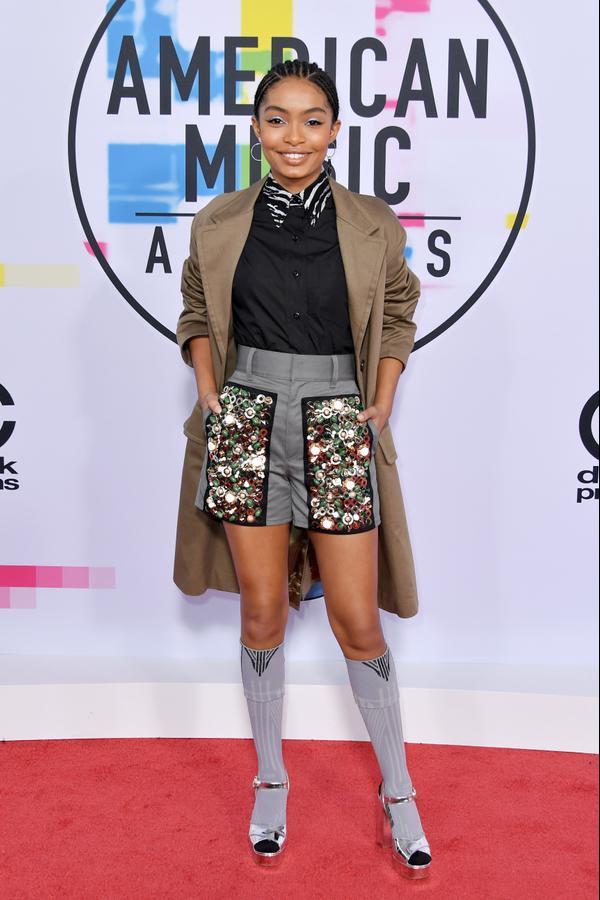 <p><strong>WHO:</strong>Yara Shahidi</p> <p><strong>WEAR:</strong>Prada coat, top, skirt, and shorts; Mateo rings and earrings</p>