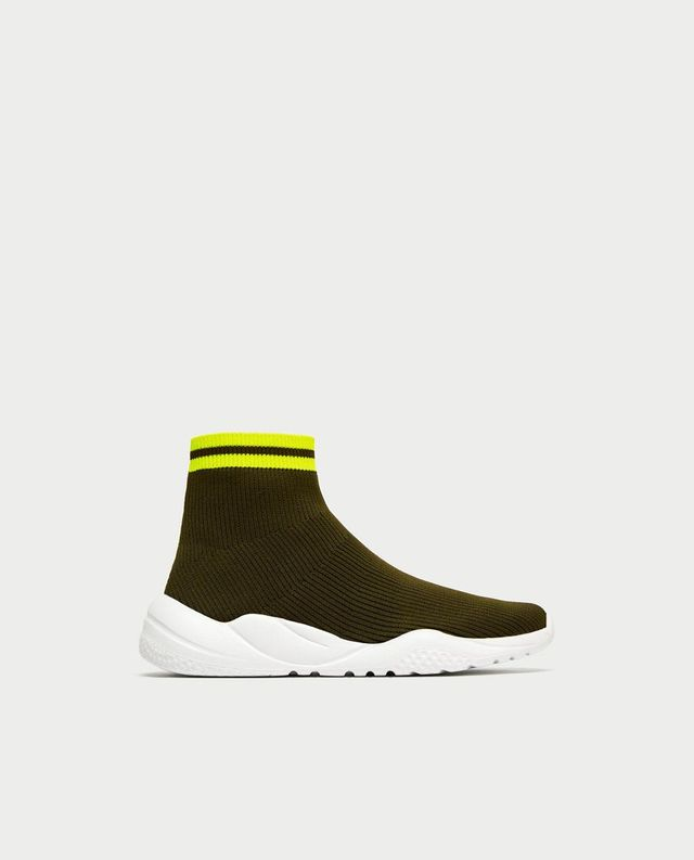 STRETCH FABRIC HIGH TOP SNEAKERS
