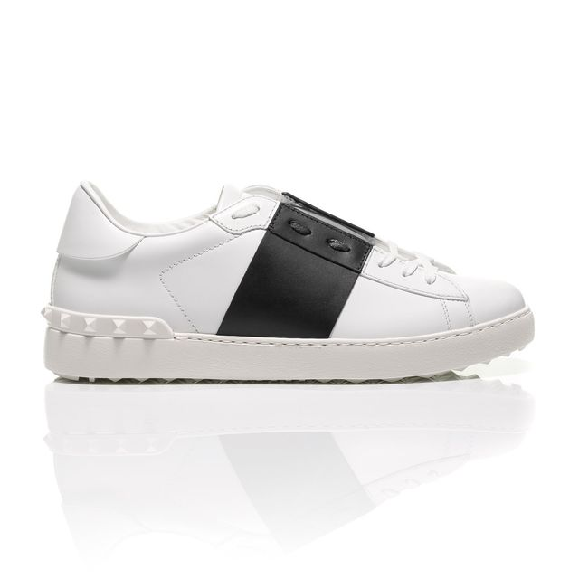 Valentino Open Sneaker With Laces and Leather Stripe