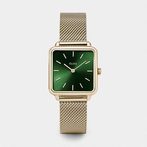 Cluse Cluse La Garconne Gold/Forest Green Mesh Watch