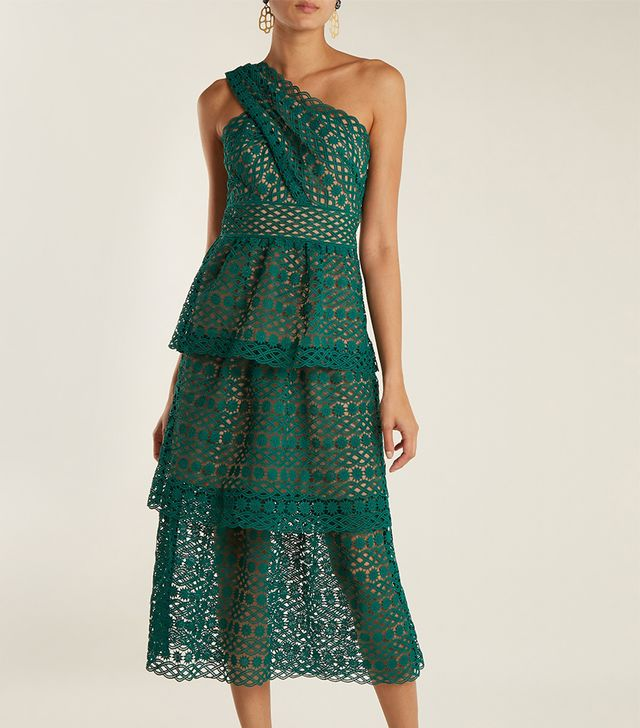 One-shoulder tiered lace midi dress