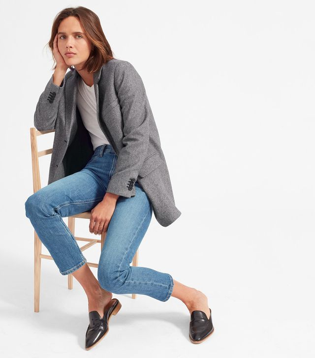 Women's Oversized Blazer by Everlane in Grey Herringbone, Size 14